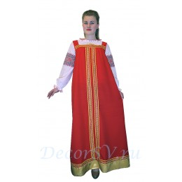 Русский костюм - блуза белая с рисунком + сарафан красный габардин с тесьмой