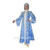 Новогодний костюм Снегурочки из жаккардовой ткани. Шубка и кокошник с ушками.