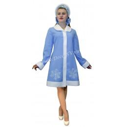 Новогодний костюм Снегурочки из голубого габардина с отложным воротником и снежинкой. Шубка и кокошник.