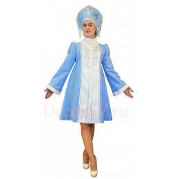 Новогодний костюм Снегурочки из габардина. Шубка и кокошник с бусами.