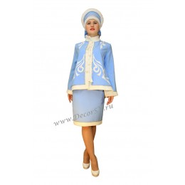 Новогодний костюм Снегурочки голубой. Шубка, юбочка и кокошник.