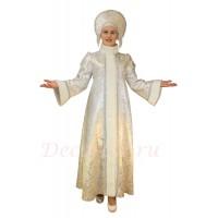 Новогодний костюм Снегурочки из СЕРЕБРЯНОЙ парчи и меха. Шубка длинная и кокошник с БУСАМИ.