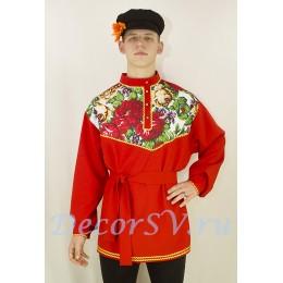 Рубашка русская народная с рисунком в русском стиле. Цвет красный.