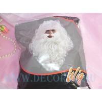 Парик , усы с бородой Деда Мороза - комплект профессиональный.