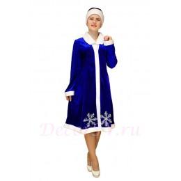 Новогодний костюм Снегурочки из синего стрейч-велюра (бархата) с отложным воротником и снежинкой. Шубка и шапочка.