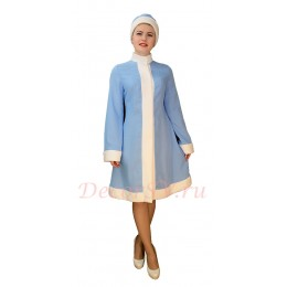 Новогодний костюм Снегурочки из голубого габардина со стойкой-без снежинок. Шубка и шапочка.