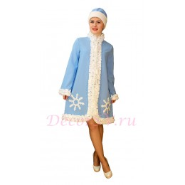 Новогодний костюм Снегурочки со снежинкой - комплект. (Шубка, шапочка).