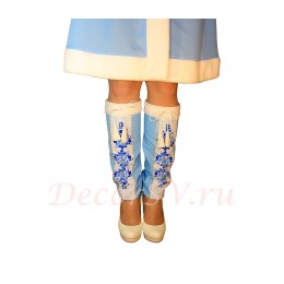 """Гетры для Новогоднего костюма Снегурочки с рис. в стиле """"Гжель"""". Цвет голубой."""
