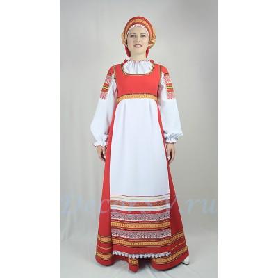 """- """"Русский народный стилизованный костюм. В состав костюма входит: сарафан, блузка, кокошник."""" от производителя DecorSV. (Артикул: РНП-77 )"""