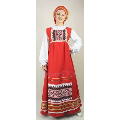 """- """"Русский народный костюм. В состав костюма входит: сарафан, блузка, фартук, кокошник. Цвет красный."""" от производителя DecorSV. (Артикул: РНП-48 )"""