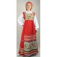 """Русский народный костюм с рисунком """"Хохлома"""". В состав костюма входит: сарафан, блузка, фартук, кокошник. Цвет красный."""