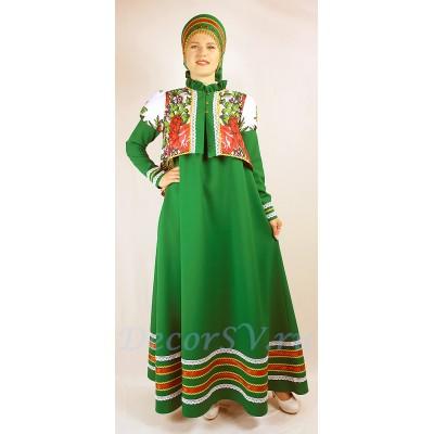 """- """"Русский народный костюм: сарафан, коротена и кокошник. Цвет зеленый."""" от производителя DecorSV. (Артикул: РНП-1026 )"""