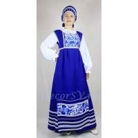 """Русский народный костюм с рисунком """"Гжель"""": сарафан, блузка, фартук, кокошник. Цвет синий."""