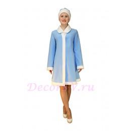 Новогодний костюм Снегурочки из голубого габардина с отложным воротником. Шубка и шапочка.