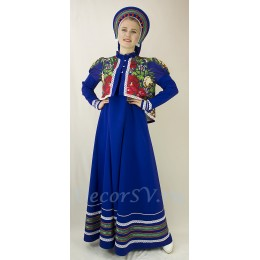 Русский народный костюм: сарафан, коротена и кокошник. Цвет синий.