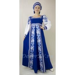 """Русский народный костюм в стиле """"Гжель"""": платье и кокошник закрытой формы. Цвет синий."""