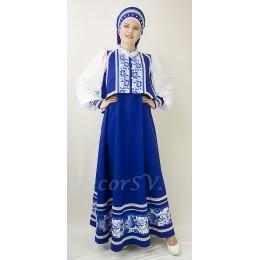 """Русский народный костюм в стиле """"Гжель"""": сарафан синий, блузка и закрытый кокошник. Цвет синий."""