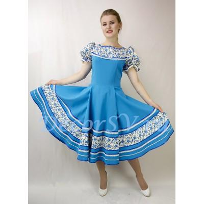 """- """"Русское народное платье для танца. Цвет голубой."""" от производителя DecorSV. (Артикул: РНП-457-Г )"""