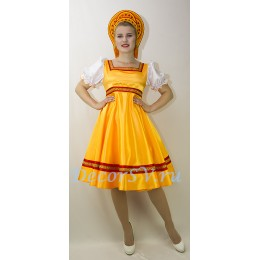 Русский народный танцевальный костюм: платье, кокошник и подъюбник. Цвет оранжевый