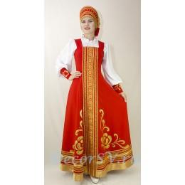 Русский народный стилизованный костюм:: сарафан, блузка, и кокошник.