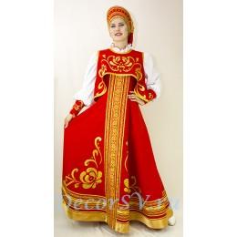 Русский народный стилизованный костюм:: сарафан, блузка, коротена и кокошник.