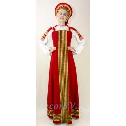 Русский народный костюм: сарафан, блузка и кокошник. Цвет красный.