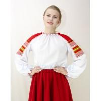 Блуза для русского костюма бела с цветными рукавами.