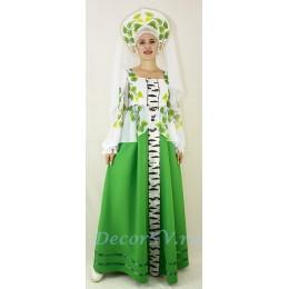 """Костюм русский """"Березка"""": платье и кокошник с вуалью."""