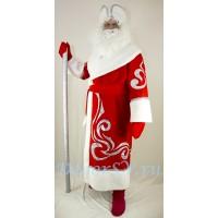 Новогодний костюм Деда Мороза из габардина с искусственным мехом КРАСНЫЙ - Комплект: шуба, пояс, шапка, варежки. (без бороды).