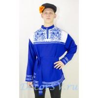 """Рубашка мужская народная с рисунком """"Гжель"""". Цвет синий."""