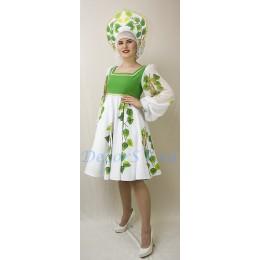 """Костюм танцевальный """"Берёзка"""": платье с подъюбником и кокошник."""