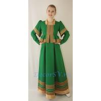 Платье в русском стиле. Цвет зеленый.