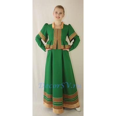"""- """"Платье в русском стиле. Цвет зеленый."""" от производителя DecorSV. (Артикул: РНП-20 )"""