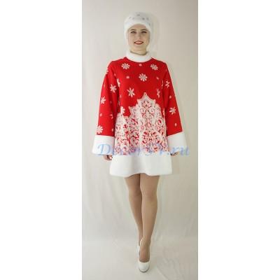 """- """"Новогодний костюм Снегурочки красного цвета: шубка меховая и кокошник - шапочка."""" от производителя DecorSV. (Артикул: НКС-41 )"""