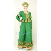 Костюм в русском стиле: платье и кокошник. Цвет зеленый.