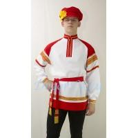 Рубашка русская народная. Цвет белый с красной отделкой.