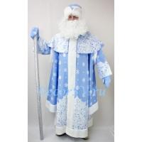 Новогодний костюм Деда Мороза из голубого искусственного меха. Комплект - шуба, шапка и варежки (без бороды и мешка).