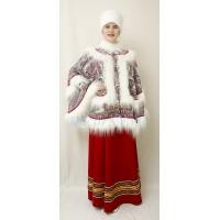 Костюм для зимних гуляний: пончо и шапка кубанка.