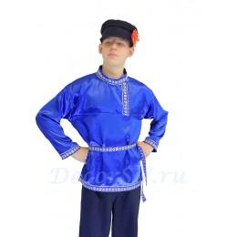 Косоворотка с тесьмой синяя атласная.