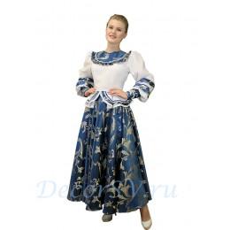 Русский народный костюм. Костюм состоит из блузки и юбка. Цвет сине-белый.