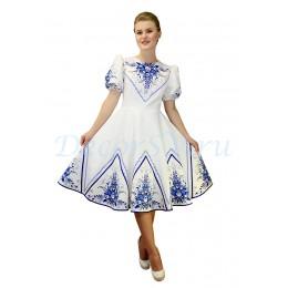 """Русское народное платье с рисунками в стиле """"Гжель"""". Цвет белый"""