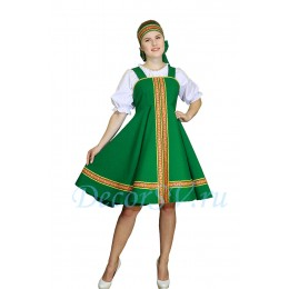 Русский народный сарафан. Цвет сарафана зеленый
