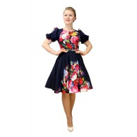 Платье для танца в народном стиле с рисунком «Жостово». Цвет темно-синий.