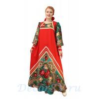 Русский народный костюм: платье с цветными рукавами и повязкой на голову. Цвет красный