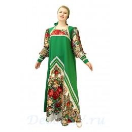 Русский народный костюм: платье с цветными рукавами и повязка. Цвет зеленый