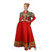 Русский народный костюм: сарафан красный, коротёна цветная и кичка. Цвет красный.