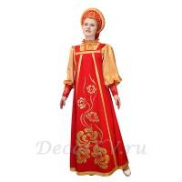 Русский народный костюм, в состав костюма входит: сарафан, блузка и кокошник. Цвет красно-золотой.