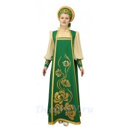 Русский народный костюм, в состав костюма входит: сарафан, блузка и кокошник. Цвет зелено-золотой.