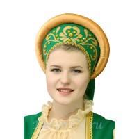 Русский народный кокошник с аппликацией. Цвет зеленый.