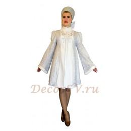 Новогодний костюм Снегурочки из голографической ткани. Шубка и кокошник.